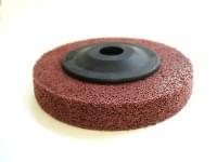 Полировочный диск D=100 -15 обработка углов мет. изделий, зерн.120 (бордовый)