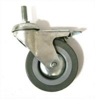 Колесо  D=100 под гайку М12 со стопором серое гп 70 кг