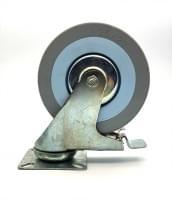 Колесо  D=125 поворотное со стопором серое гп 100 кг