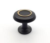 Ручка кноб 32мм черный матовый+сатин золото 3210