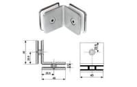 Cоединение 2-х стёкол H-47 (90градусов) (под стекло 6-12мм) нерж.сталь