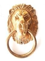 Дверная ручка кольцо (кнокер) ЛЕВ, бронза, 20х32см