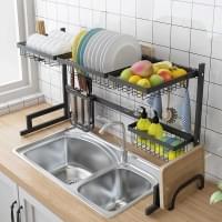 Сушка для посуды 2 уровня вокруг раковины (860*310*520мм нержавеющая сталь черная