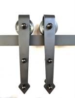 Механизм для амбарной двери (направляющая L=2м) подвесной цвет: черный QD133