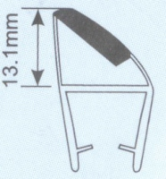 Молдинг для душевых кабин Н008А -8мм 90 гр. L=2.2м