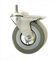 Колесо  D=125 под гайку М12 со стопором серое гп 70 кг