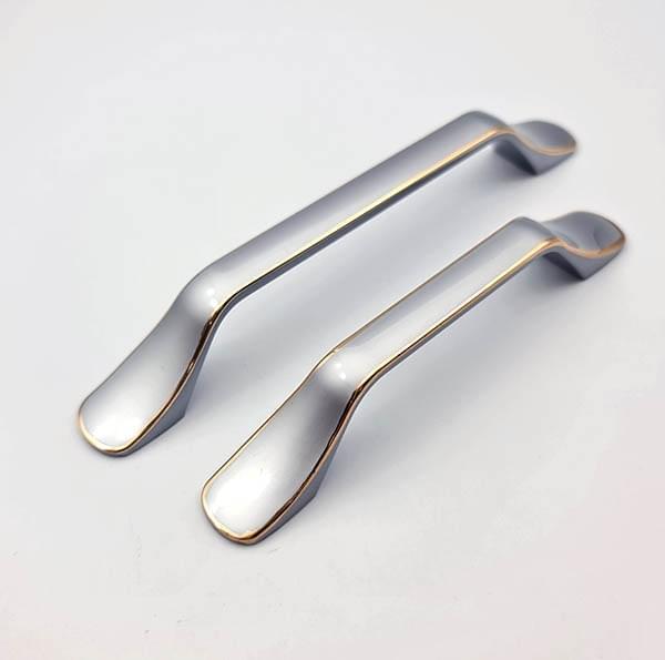Ручка мебельная  96мм голубое серебро + золото FW1679-096