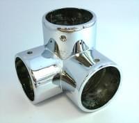Соединитель 3-х труб D=32 90гр металл хром