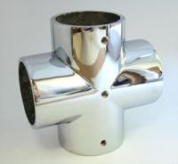 Соединитель 4-х труб D=32 крестообразный металл хром